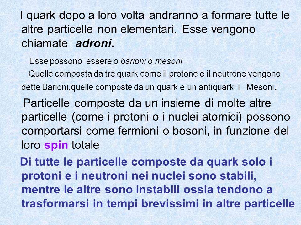 I quark dopo a loro volta andranno a formare tutte le altre particelle non elementari. Esse vengono chiamate adroni. Esse possono essere o barioni o m