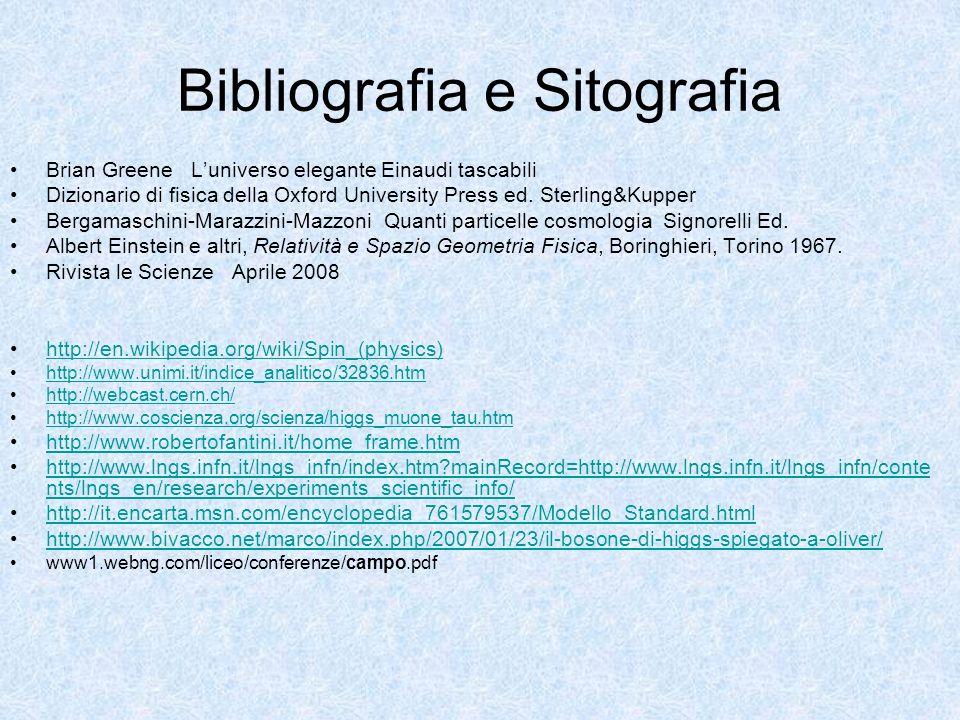 Bibliografia e Sitografia Brian Greene Luniverso elegante Einaudi tascabili Dizionario di fisica della Oxford University Press ed. Sterling&Kupper Ber