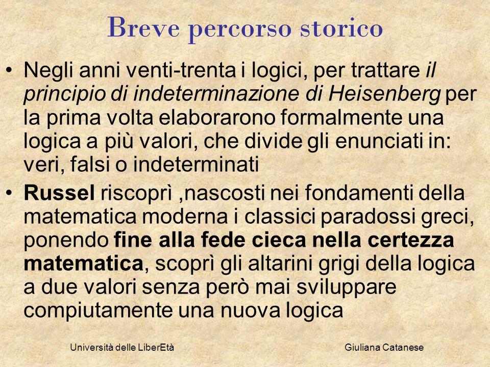 Università delle LiberEtà Giuliana Catanese Breve percorso storico Negli anni venti-trenta i logici, per trattare il principio di indeterminazione di