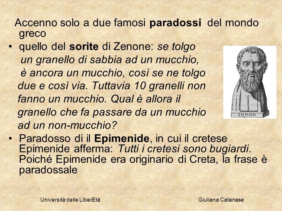 Università delle LiberEtà Giuliana Catanese Accenno solo a due famosi paradossi del mondo greco quello del sorite di Zenone: se tolgo un granello di s