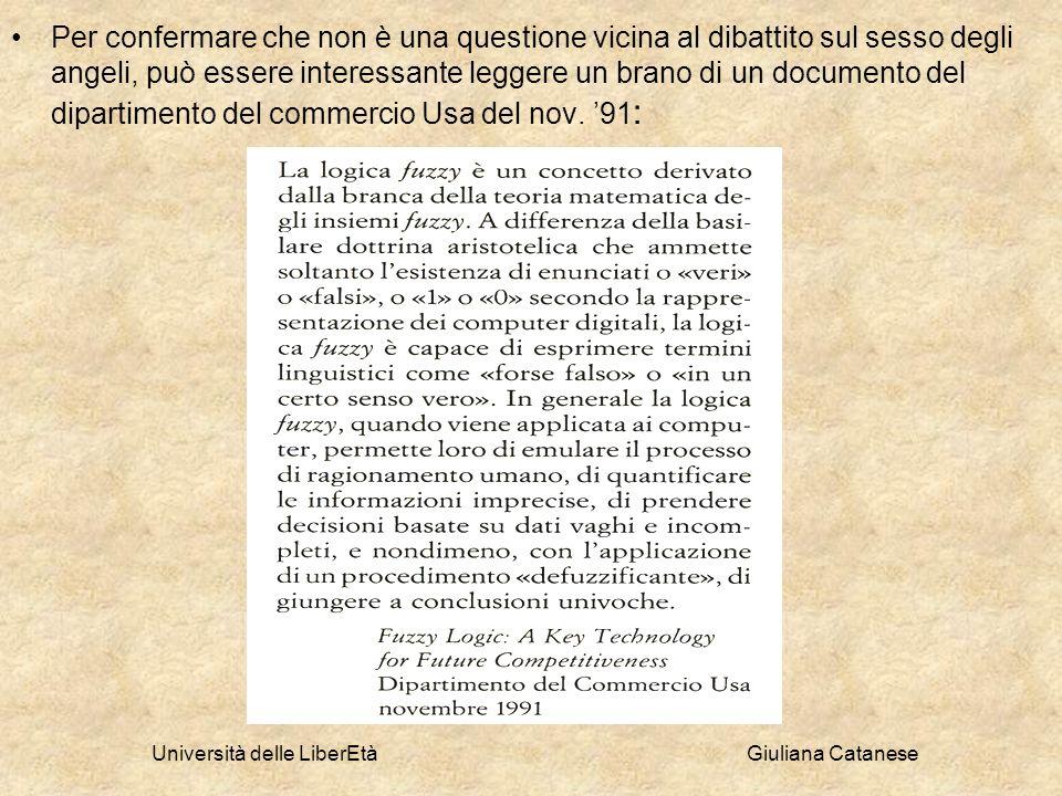 Università delle LiberEtà Giuliana Catanese Per confermare che non è una questione vicina al dibattito sul sesso degli angeli, può essere interessante
