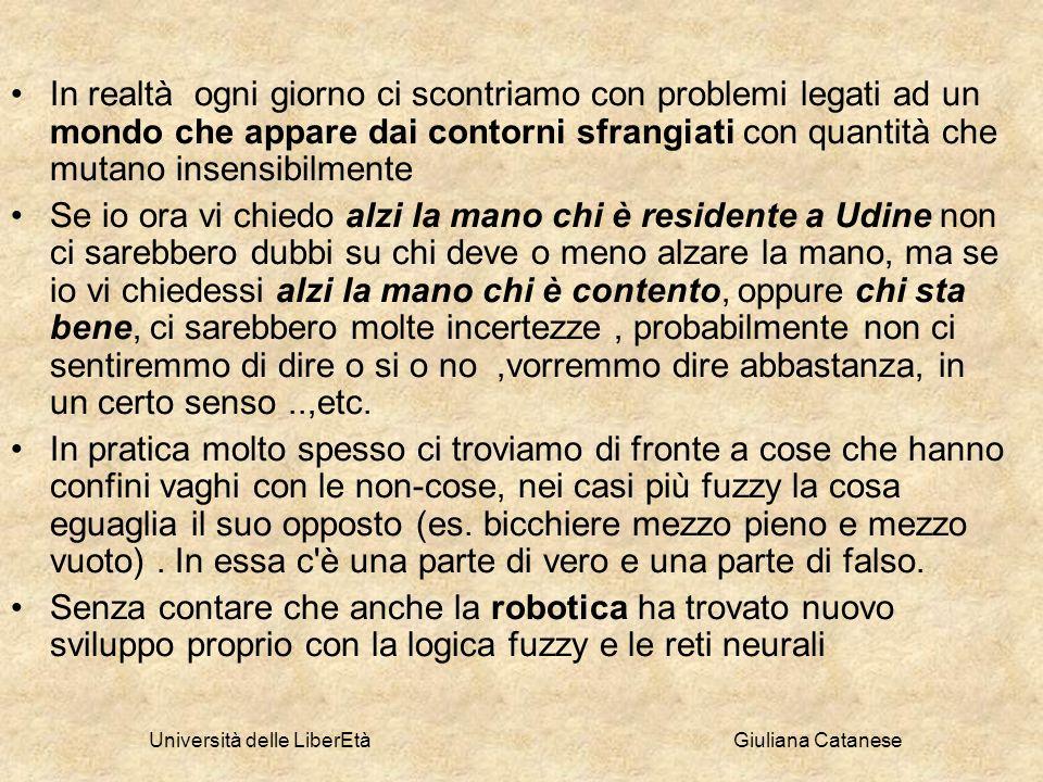 Università delle LiberEtà Giuliana Catanese In realtà ogni giorno ci scontriamo con problemi legati ad un mondo che appare dai contorni sfrangiati con