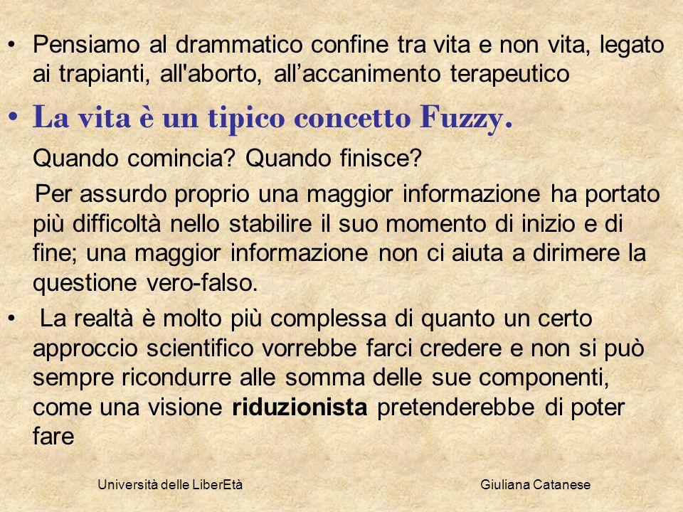 Università delle LiberEtà Giuliana Catanese Pensiamo al drammatico confine tra vita e non vita, legato ai trapianti, all'aborto, allaccanimento terape