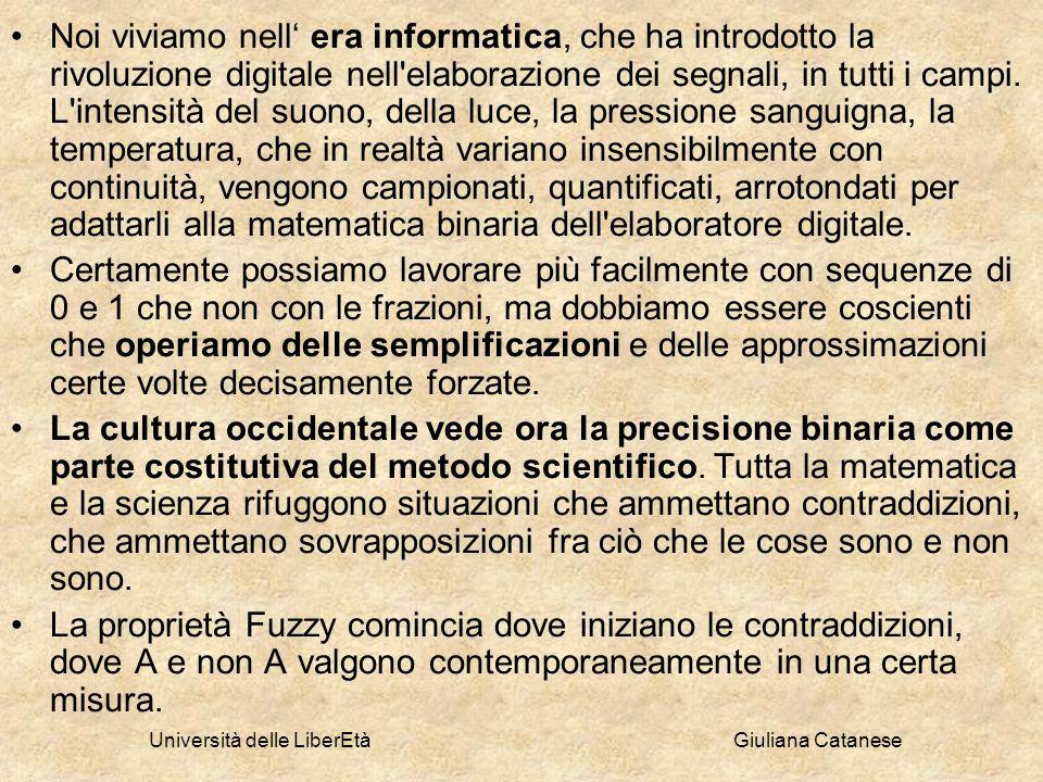 Università delle LiberEtà Giuliana Catanese Noi viviamo nell era informatica, che ha introdotto la rivoluzione digitale nell'elaborazione dei segnali,