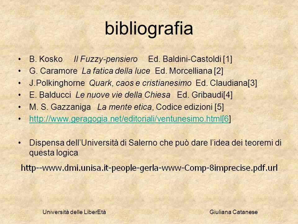 bibliografia B. Kosko Il Fuzzy-pensiero Ed. Baldini-Castoldi [1] G. Caramore La fatica della luce Ed. Morcelliana [2] J.Polkinghorne Quark, caos e cri