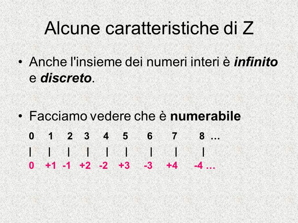 Alcune caratteristiche di Z Anche l'insieme dei numeri interi è infinito e discreto. Facciamo vedere che è numerabile 0 1 2 3 4 5 6 7 8 … | | | | | |