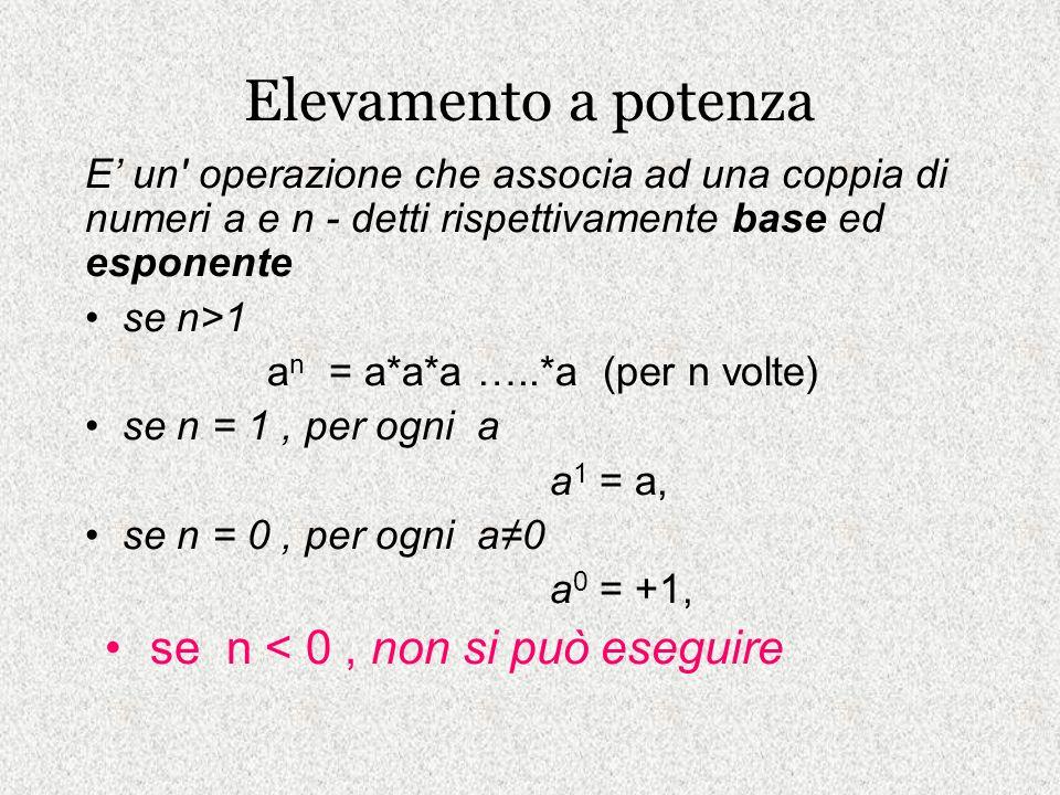 Elevamento a potenza E un' operazione che associa ad una coppia di numeri a e n - detti rispettivamente base ed esponente se n>1 a n = a*a*a …..*a (pe
