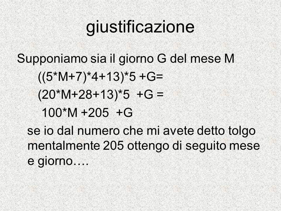 giustificazione Supponiamo sia il giorno G del mese M ((5*M+7)*4+13)*5 +G= (20*M+28+13)*5 +G = 100*M +205 +G se io dal numero che mi avete detto tolgo
