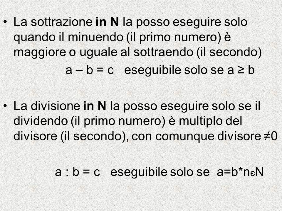 La sottrazione in N la posso eseguire solo quando il minuendo (il primo numero) è maggiore o uguale al sottraendo (il secondo) a – b = c eseguibile so