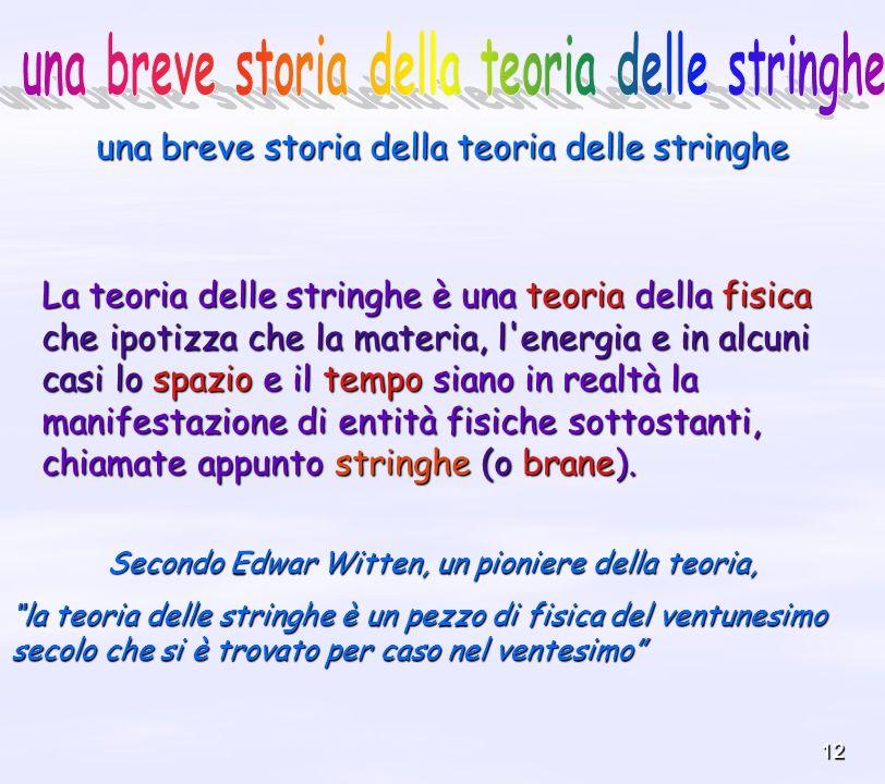 12 una breve storia della teoria delle stringhe La teoria delle stringhe è una teoria della fisica che ipotizza che la materia, l'energia e in alcuni