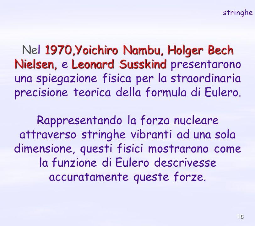 16 1970,Yoichiro Nambu, Holger Bech Nielsen, Leonard Susskind Nel 1970,Yoichiro Nambu, Holger Bech Nielsen, e Leonard Susskind presentarono una spiega
