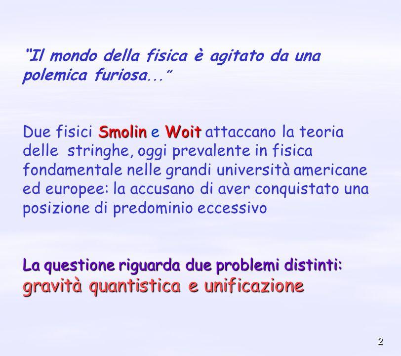 2 Il mondo della fisica è agitato da una polemica furiosa... SmolinWoit Due fisici Smolin e Woit attaccano la teoria delle stringhe, oggi prevalente i