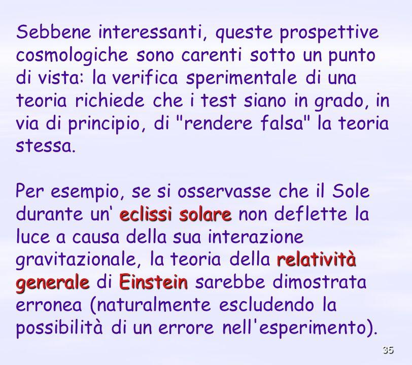 35 Sebbene interessanti, queste prospettive cosmologiche sono carenti sotto un punto di vista: la verifica sperimentale di una teoria richiede che i t
