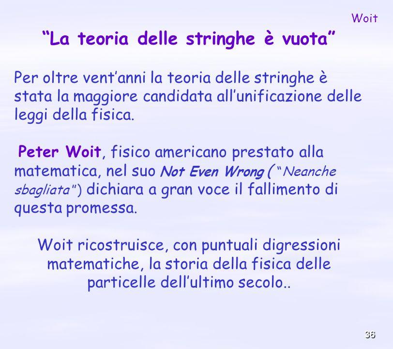 36 La teoria delle stringhe è vuota Per oltre ventanni la teoria delle stringhe è stata la maggiore candidata allunificazione delle leggi della fisica