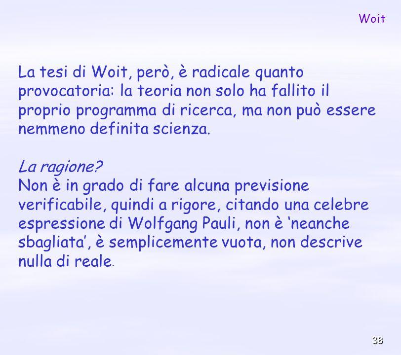 38 La tesi di Woit, però, è radicale quanto provocatoria: la teoria non solo ha fallito il proprio programma di ricerca, ma non può essere nemmeno def