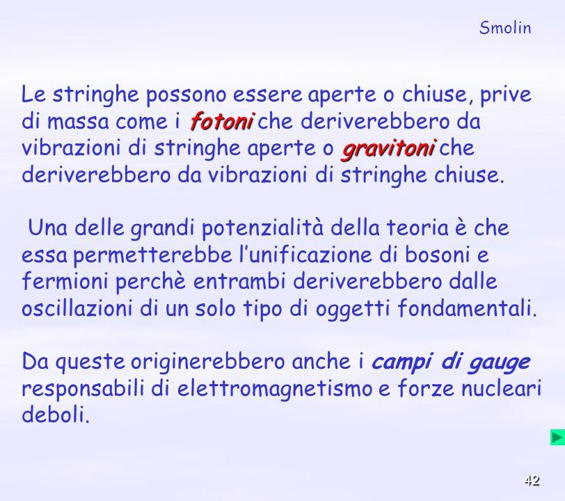 42 fotoni gravitoni Le stringhe possono essere aperte o chiuse, prive di massa come i fotoni che deriverebbero da vibrazioni di stringhe aperte o grav