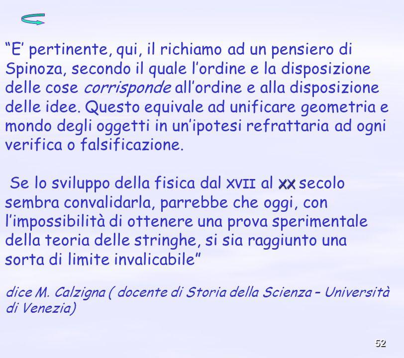52 E pertinente, qui, il richiamo ad un pensiero di Spinoza, secondo il quale lordine e la disposizione delle cose corrisponde allordine e alla dispos