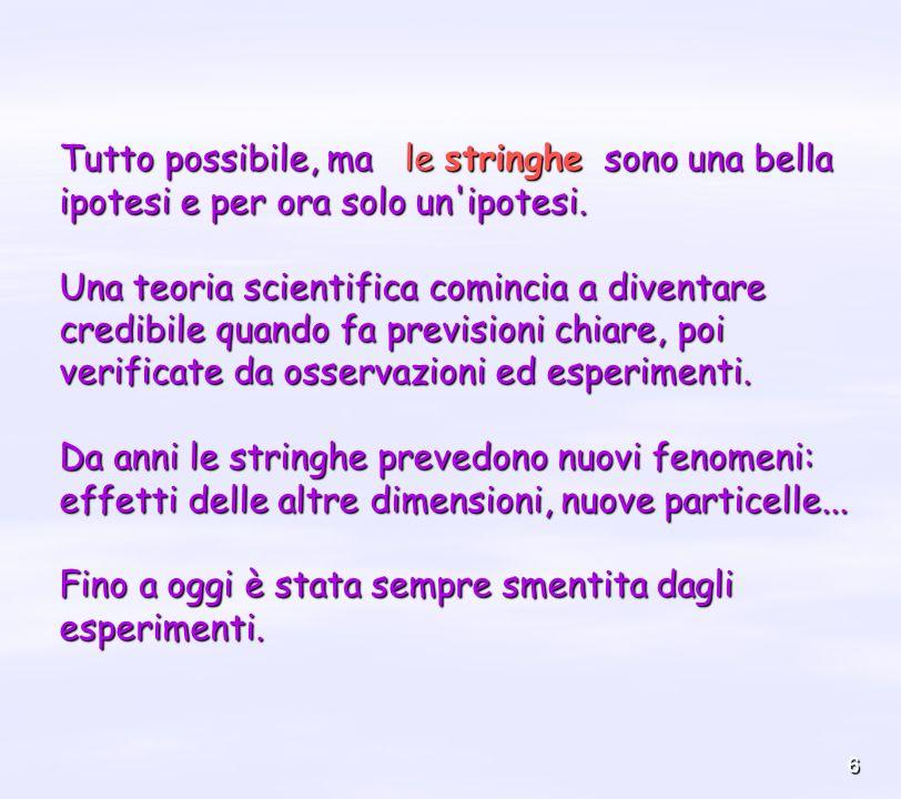 6 Tutto possibile, ma le stringhe sono una bella ipotesi e per ora solo un'ipotesi. Una teoria scientifica comincia a diventare credibile quando fa pr