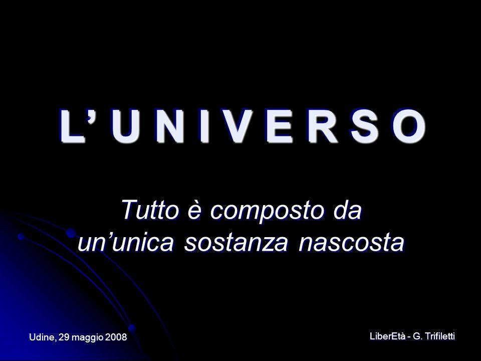 Udine, 29 maggio 2008 LiberEtà - G. Trifiletti L U N I V E R S O L U N I V E R S O Tutto è composto da ununica sostanza nascosta