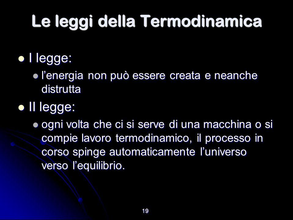 19 Le leggi della Termodinamica I legge: I legge: lenergia non può essere creata e neanche distrutta lenergia non può essere creata e neanche distrutt