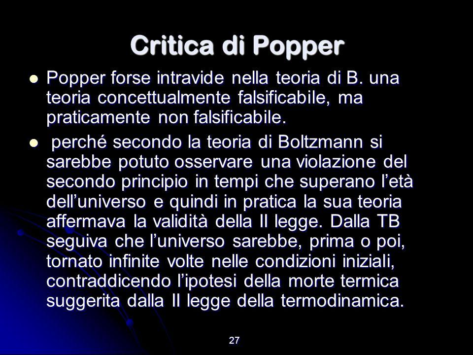 27 Critica di Popper Popper forse intravide nella teoria di B. una teoria concettualmente falsificabile, ma praticamente non falsificabile. Popper for