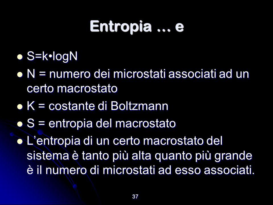 37 Entropia … e S=klogN S=klogN N = numero dei microstati associati ad un certo macrostato N = numero dei microstati associati ad un certo macrostato
