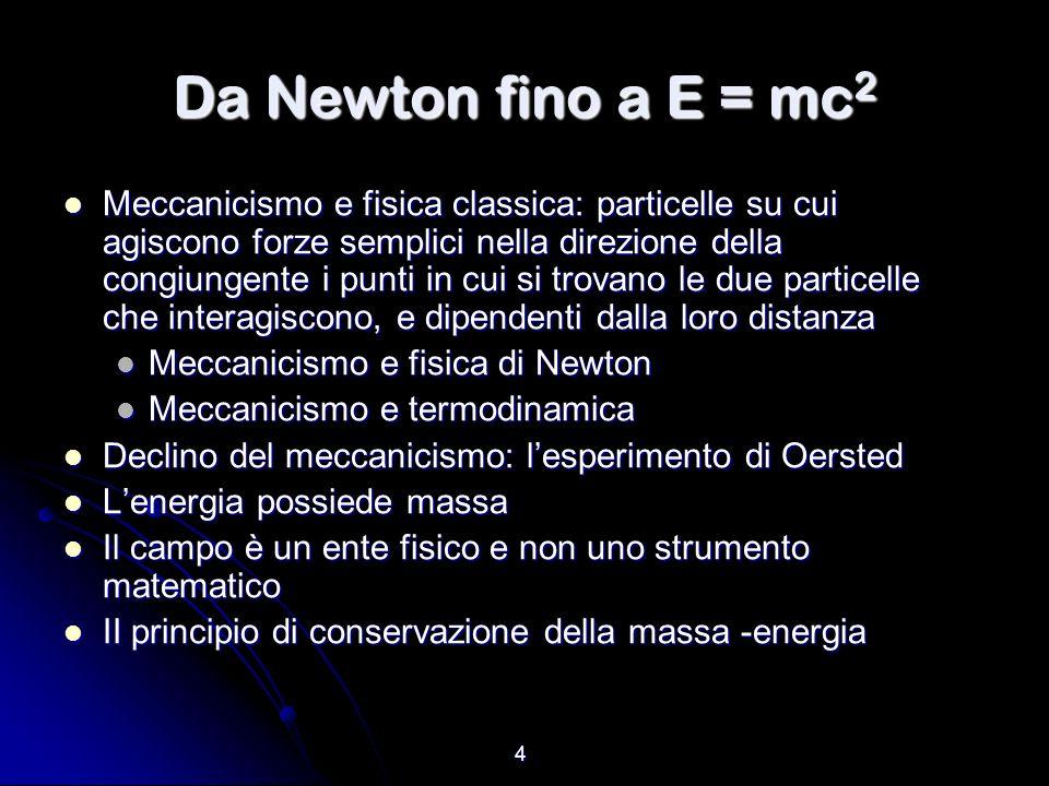 4 Da Newton fino a E = mc 2 Meccanicismo e fisica classica: particelle su cui agiscono forze semplici nella direzione della congiungente i punti in cu