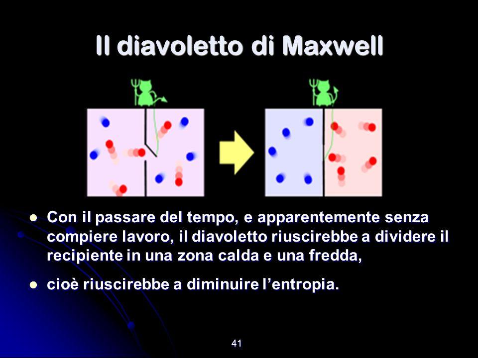41 Il diavoletto di Maxwell Con il passare del tempo, e apparentemente senza compiere lavoro, il diavoletto riuscirebbe a dividere il recipiente in un