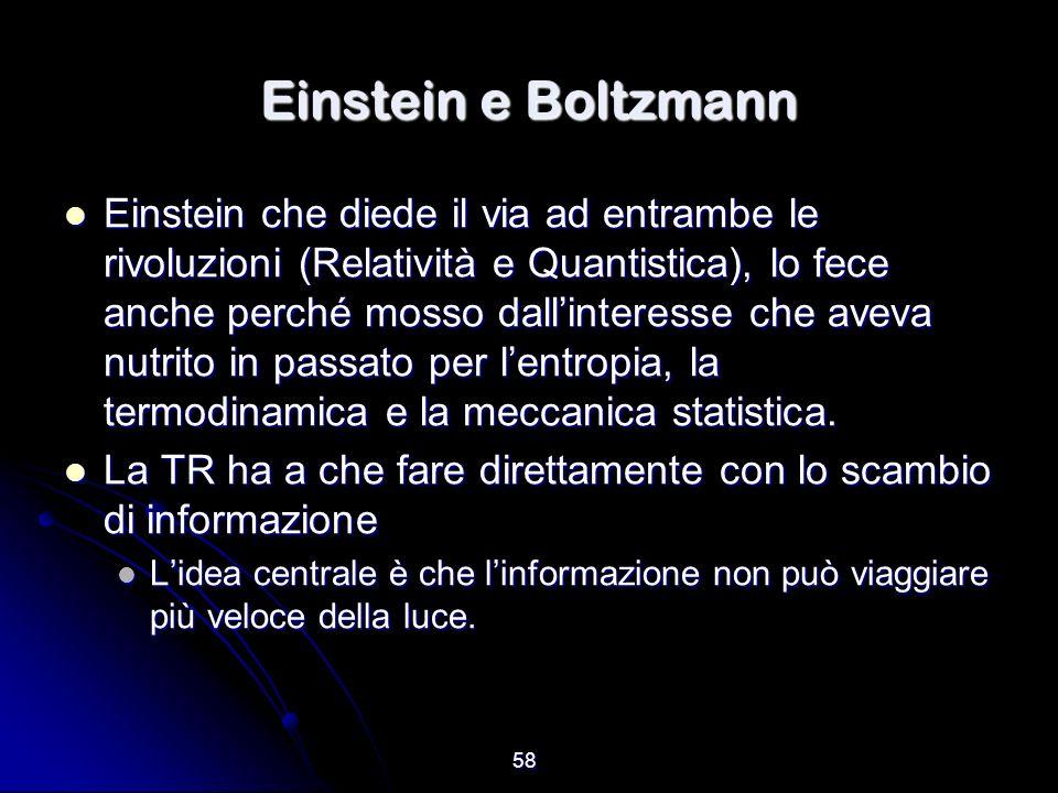 58 Einstein e Boltzmann Einstein che diede il via ad entrambe le rivoluzioni (Relatività e Quantistica), lo fece anche perché mosso dallinteresse che