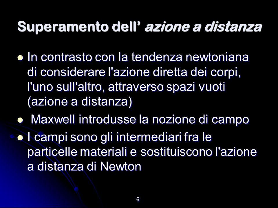 6 Superamento dell azione a distanza In contrasto con la tendenza newtoniana di considerare l'azione diretta dei corpi, l'uno sull'altro, attraverso s