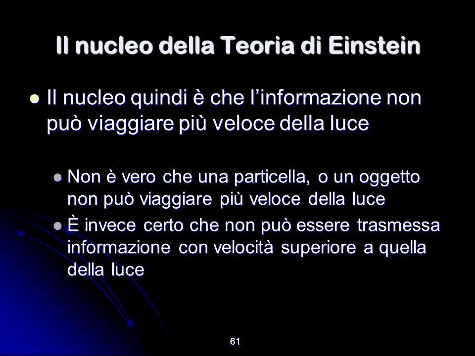 61 Il nucleo della Teoria di Einstein Il nucleo quindi è che linformazione non può viaggiare più veloce della luce Il nucleo quindi è che linformazion