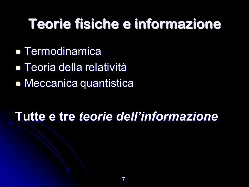 7 Teorie fisiche e informazione Termodinamica Termodinamica Teoria della relatività Teoria della relatività Meccanica quantistica Meccanica quantistic