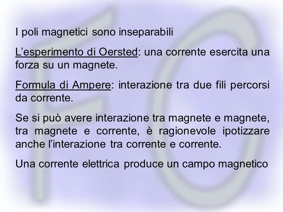 I poli magnetici sono inseparabili Lesperimento di Oersted: una corrente esercita una forza su un magnete.