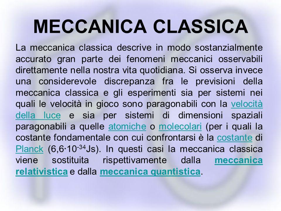 MECCANICA CLASSICA La meccanica classica descrive in modo sostanzialmente accurato gran parte dei fenomeni meccanici osservabili direttamente nella nostra vita quotidiana.