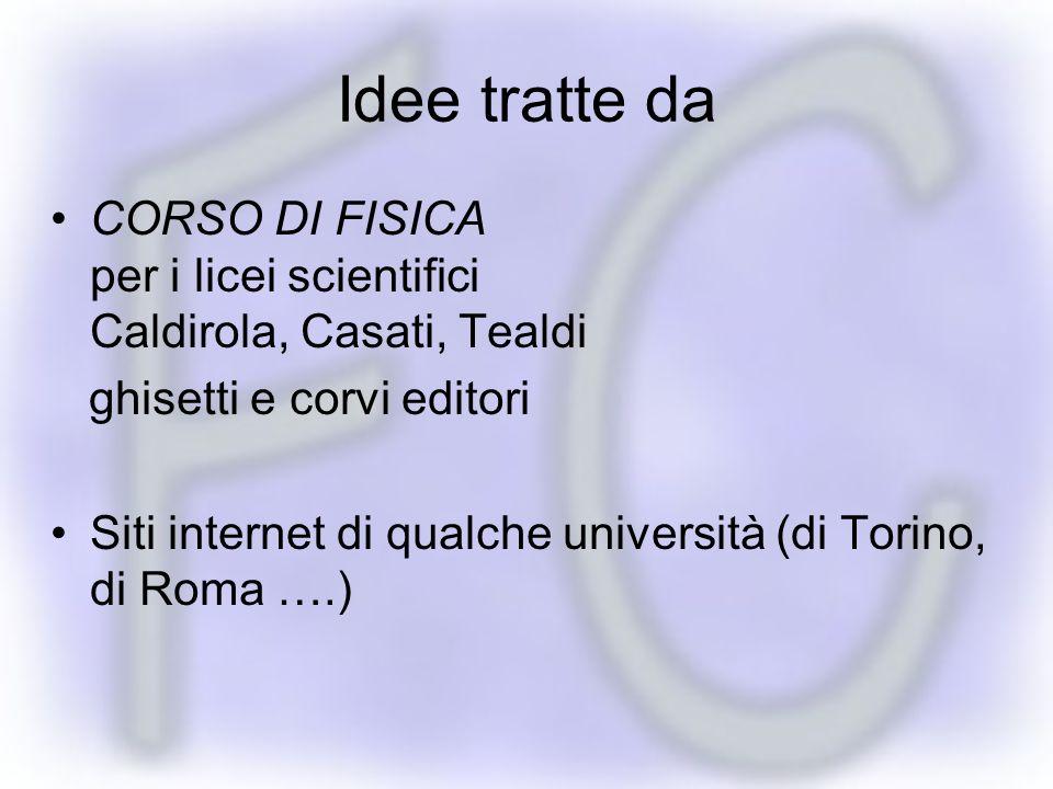 Idee tratte da CORSO DI FISICA per i licei scientifici Caldirola, Casati, Tealdi ghisetti e corvi editori Siti internet di qualche università (di Torino, di Roma ….)