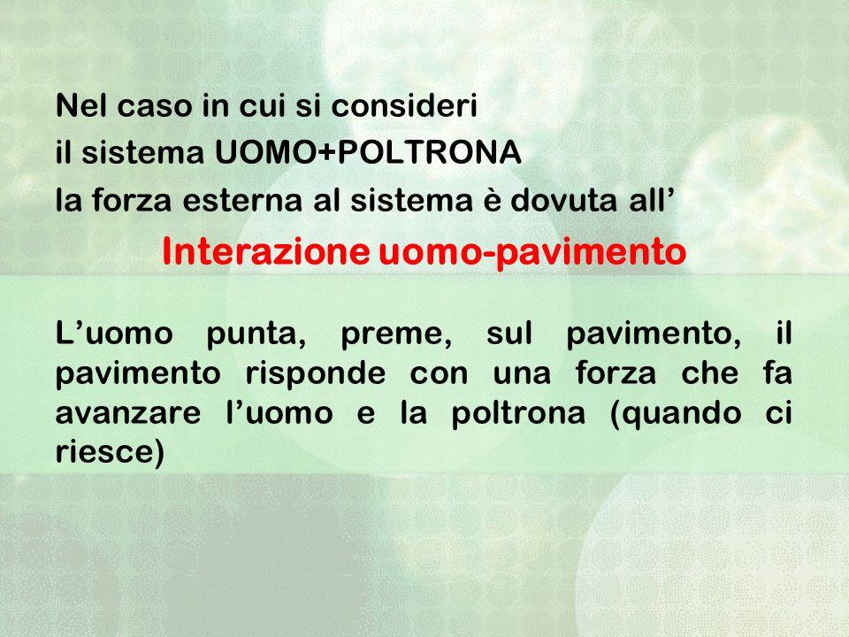 Nel caso in cui si consideri il sistema UOMO+POLTRONA la forza esterna al sistema è dovuta all Interazione uomo-pavimento Luomo punta, preme, sul pavi