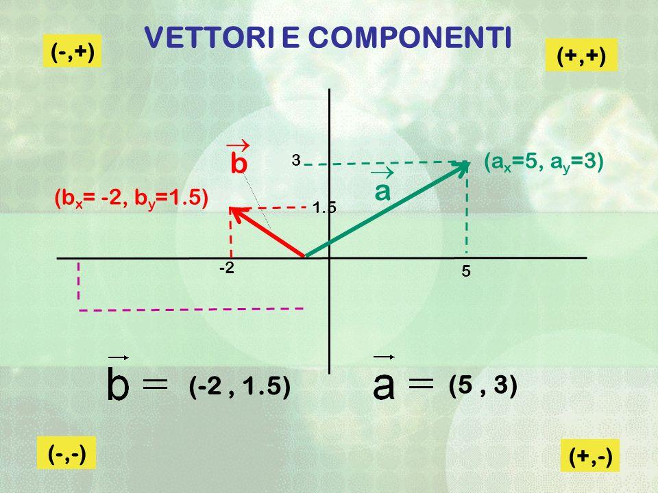 VETTORI E COMPONENTI (+,+) (-,+) (-,-) (+,-) (b x = -2, b y =1.5) (-2, 1.5) (5, 3) (a x =5, a y =3) a b 5 -2 1.5 3