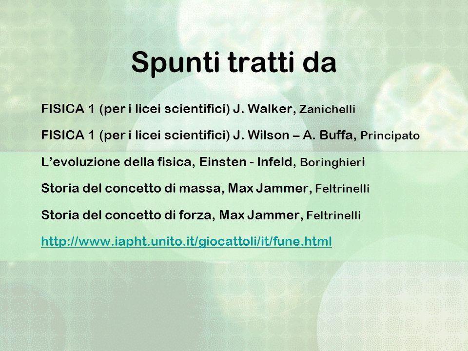 Spunti tratti da FISICA 1 (per i licei scientifici) J. Walker, Zanichelli FISICA 1 (per i licei scientifici) J. Wilson – A. Buffa, Principato Levoluzi