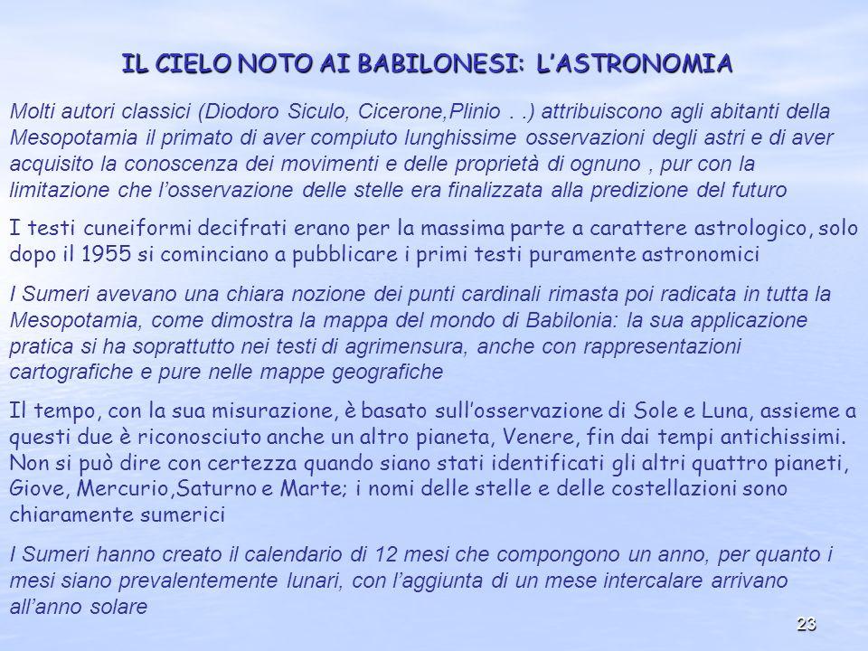 23 IL CIELO NOTO AI BABILONESI: LASTRONOMIA Molti autori classici (Diodoro Siculo, Cicerone,Plinio..) attribuiscono agli abitanti della Mesopotamia il