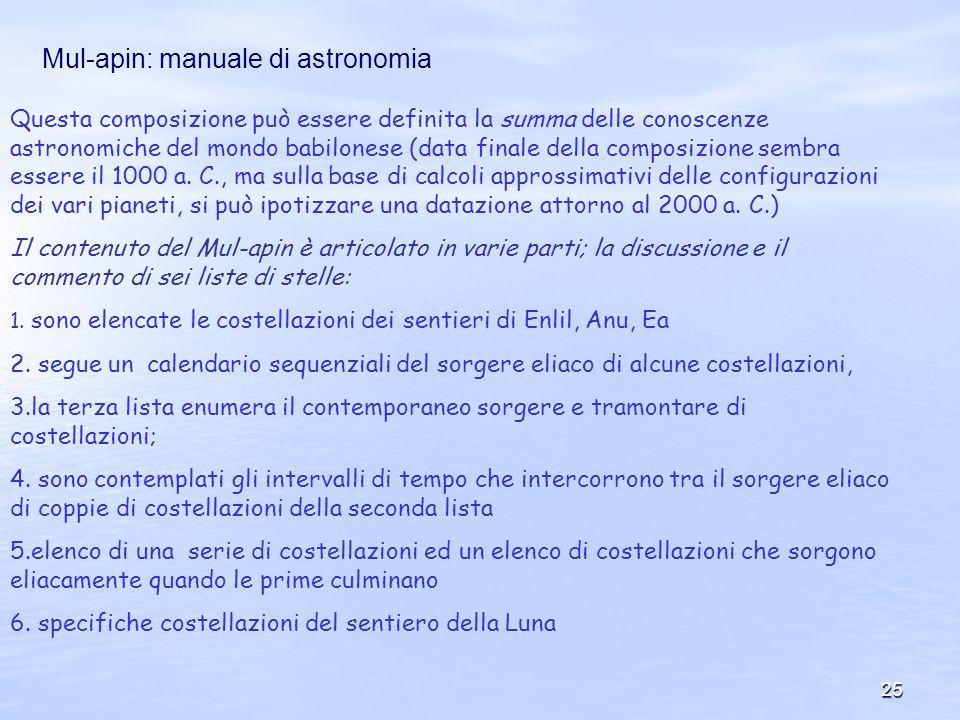 25 Mul-apin: manuale di astronomia Questa composizione può essere definita la summa delle conoscenze astronomiche del mondo babilonese (data finale de