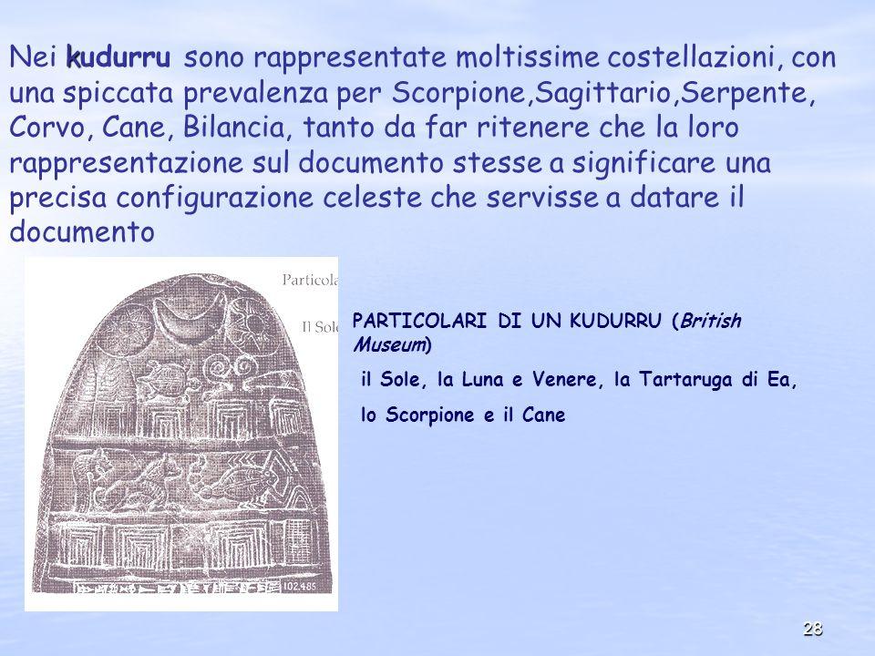 28 k Nei kudurru sono rappresentate moltissime costellazioni, con una spiccata prevalenza per Scorpione,Sagittario,Serpente, Corvo, Cane, Bilancia, ta