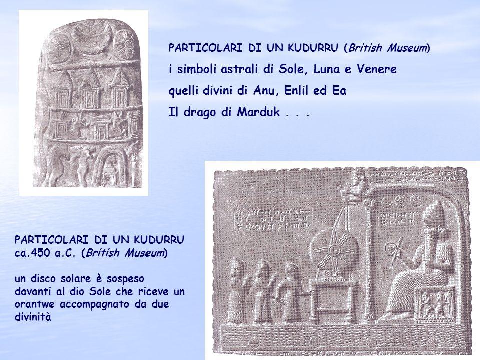 29 PARTICOLARI DI UN KUDURRU (British Museum) i simboli astrali di Sole, Luna e Venere quelli divini di Anu, Enlil ed Ea Il drago di Marduk... PARTICO