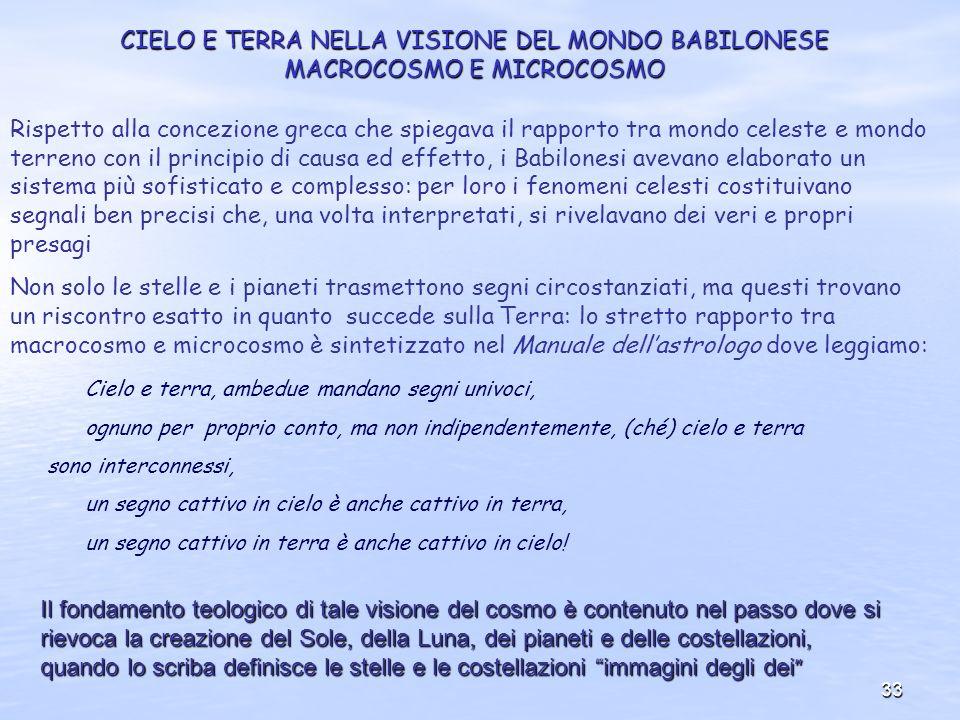 33 CIELO E TERRA NELLA VISIONE DEL MONDO BABILONESE MACROCOSMO E MICROCOSMO Rispetto alla concezione greca che spiegava il rapporto tra mondo celeste