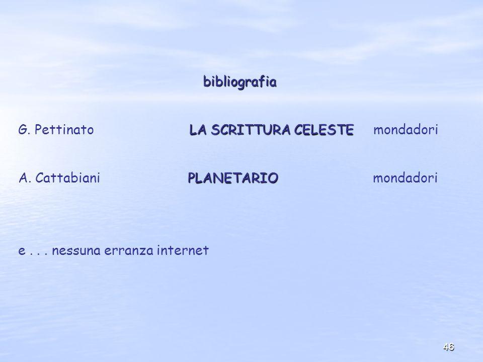 46 bibliografia LA SCRITTURA CELESTE G. Pettinato LA SCRITTURA CELESTE mondadori PLANETARIO A. Cattabiani PLANETARIO mondadori e... nessuna erranza in