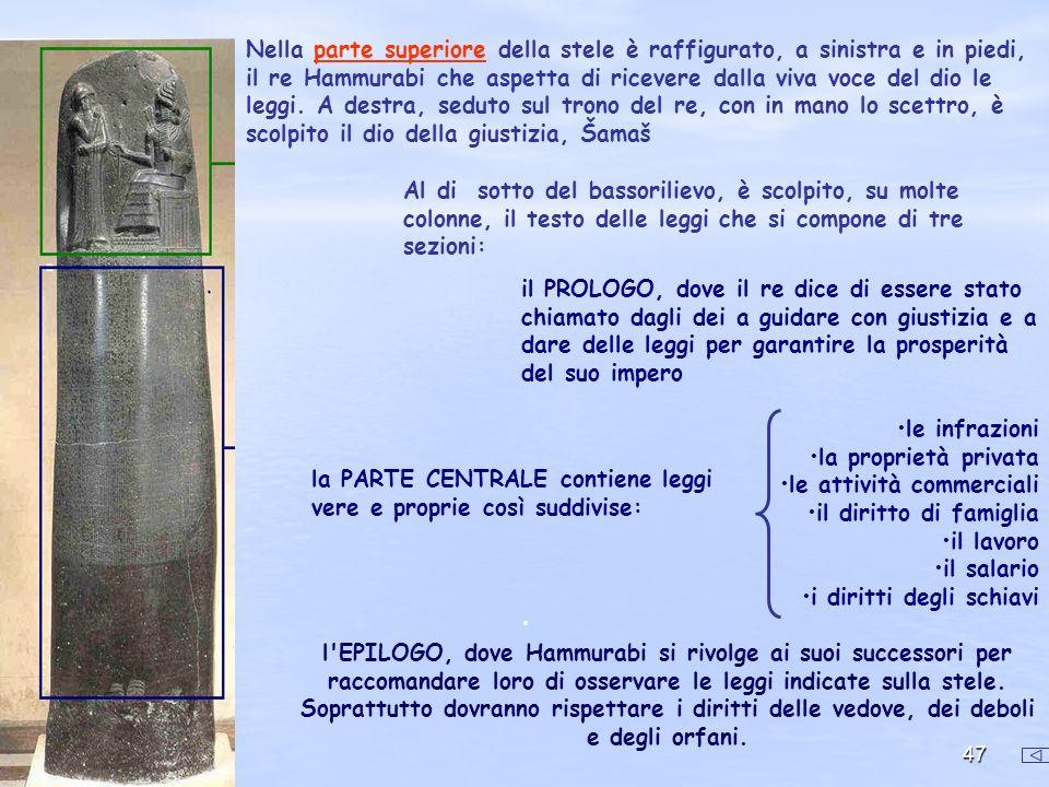 47 Nella parte superiore della stele è raffigurato, a sinistra e in piedi, il re Hammurabi che aspetta di ricevere dalla viva voce del dio le leggi. A