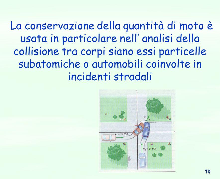 10 La conservazione della quantità di moto è usata in particolare nell analisi della collisione tra corpi siano essi particelle subatomiche o automobi
