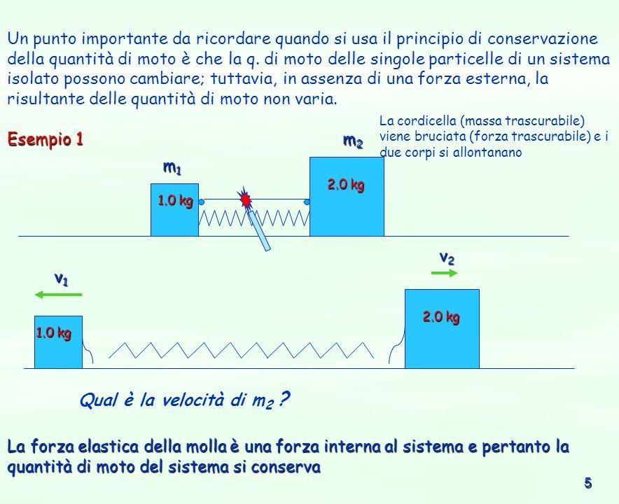 6 proiettile m2m2m2m2 blocco di legno fermo m1m1m1m1 v1v1v1v1 m 1 m 2 m 1 + m 2 vfvfvfvf superficie priva di attrito P i = m 1 v i P f = (m 1 + m 2 ) v f prima dellurto: P i = m 1 v i dopo lurto: P f = (m 1 + m 2 ) v f Esempio 2 Un proiettile di 10 g si muove orizzontalmente con la velocità di 400 m/s e si conficca in un blocco di 390 g inizialmente fermo su un tavolo privo di attrito.