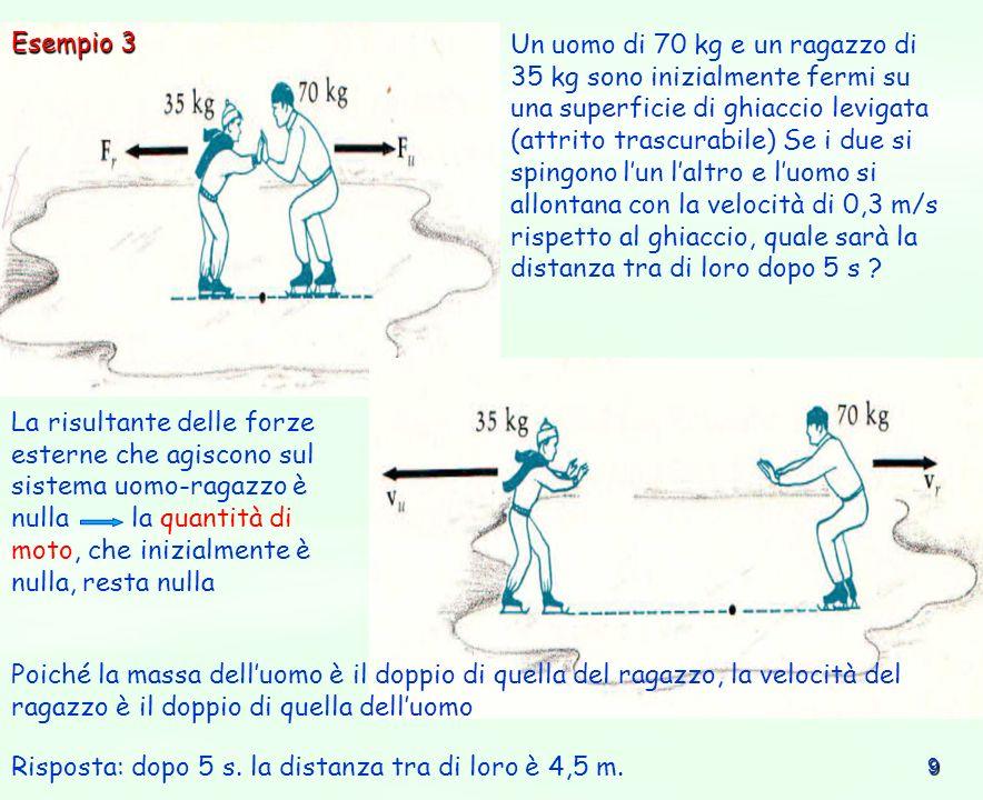 9 Un uomo di 70 kg e un ragazzo di 35 kg sono inizialmente fermi su una superficie di ghiaccio levigata (attrito trascurabile) Se i due si spingono lu