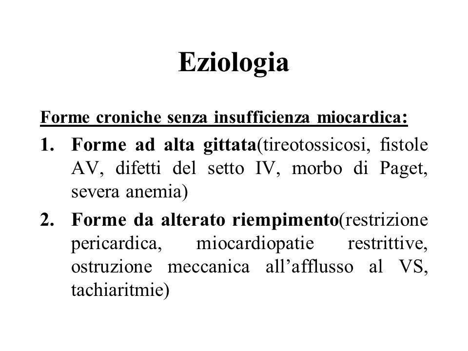 Eziologia Forme croniche senza insufficienza miocardica : 1.Forme ad alta gittata(tireotossicosi, fistole AV, difetti del setto IV, morbo di Paget, se