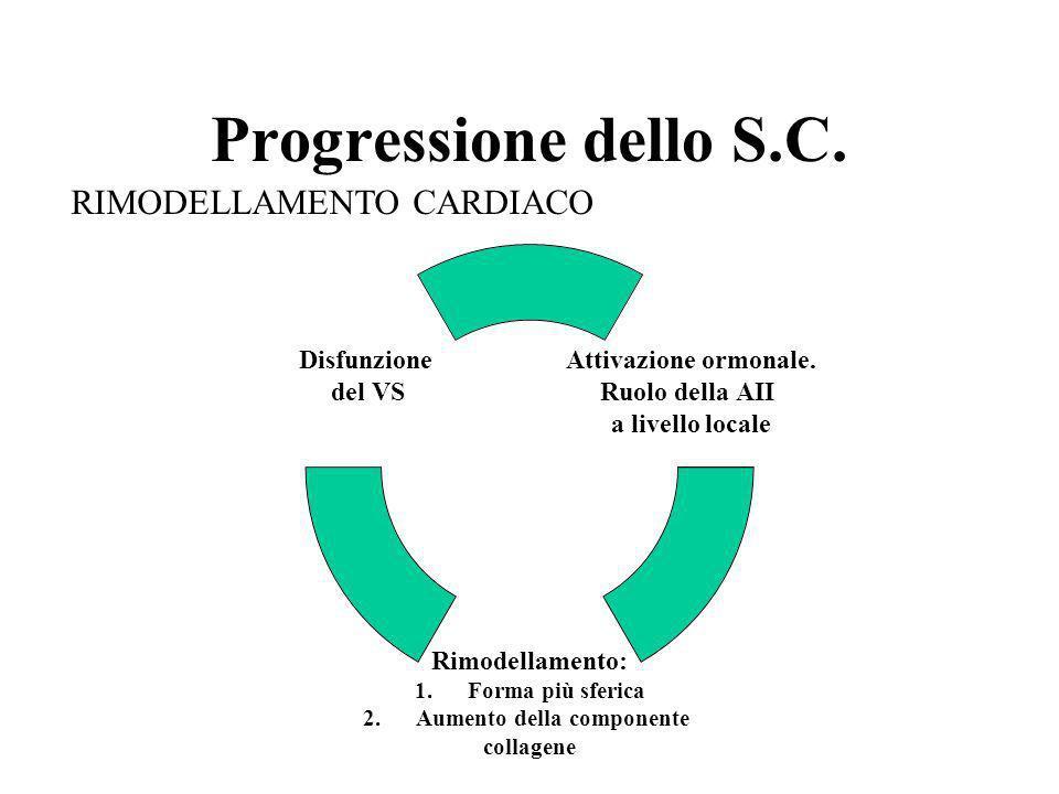 Progressione dello S.C. Attivazione ormonale. Ruolo della AII a livello locale Rimodellamento: 1.Forma più sferica 2.Aumento della componente collagen